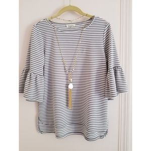 Max Studio striped bell sleeve top